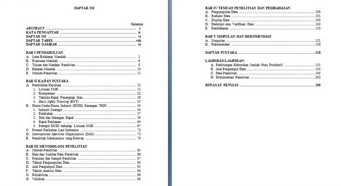 Kumpulan Referensi dan Opiniku: Penulisan Daftar Isi
