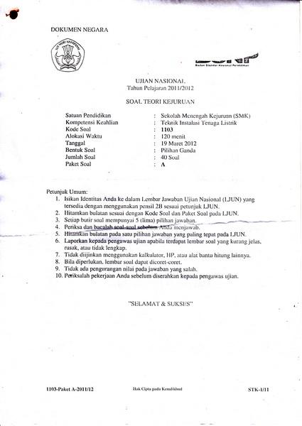 Soal Ujian Nasional Smk 2011 2012 Kumpulan Referensi Gratis Kuregis